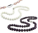 Pearl Necklaces with Silver Clasps