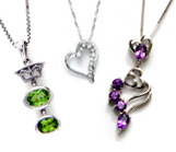 Silver, CZ & Gemstone Pendants