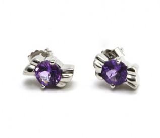 Amethyst Silver Kiss Earrings