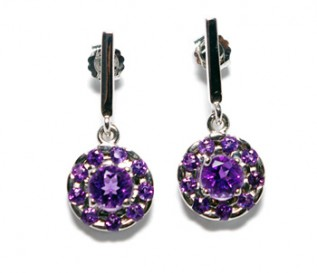 Amethyst Silver Cluster Earrings