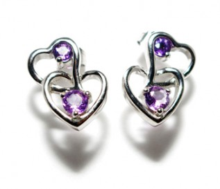 Amethyst Silver Heart In Heart Earrings