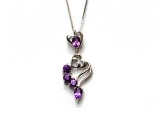 Amethyst Silver Hearts in Hearts Pendant