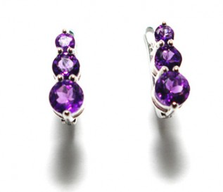 Amethyst Silver Journey Earrings