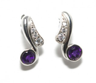 Amethyst Cz Silver Swirl Earrings
