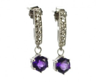 Amethyst Cz Silver Dangling Earrings