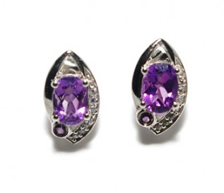 Amethyst Cz Silver Eye Stud Earrings