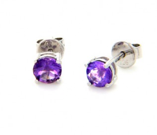Amethyst Silver Round Stud Earrings