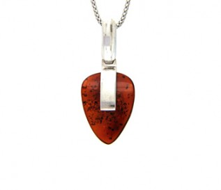 Amber Silver Claw Pendant