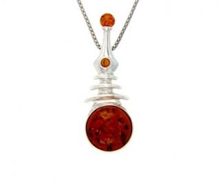 Amber Silver Pendulum Pendant