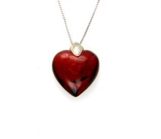 Amber Silver Heart Pendant