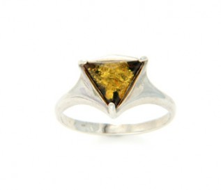 Amber Silver Geometric Ring