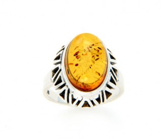 Amber Silver Ethnic Design Ring