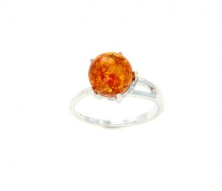 Amber Silver Fireball Ring