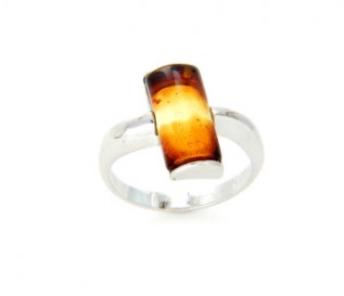 Contemporary Amber Silver Ring