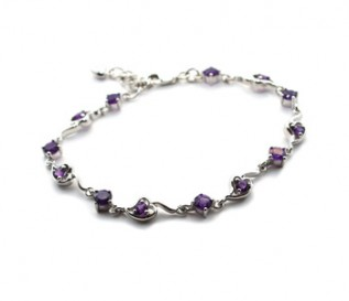 Amethyst Silver Circles And Hearts Bracelet
