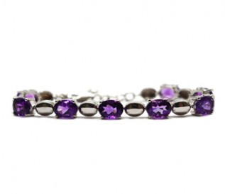 Amethyst Silver Oval Links Bracelet