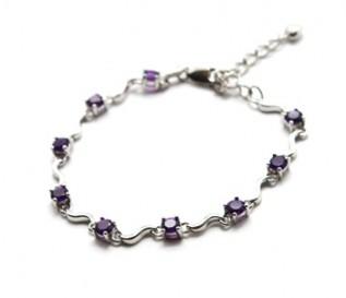 Amethyst Silver Swirl Design Bracelet