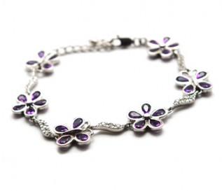 Amethyst Silver Butterflies And Flower Bracelet