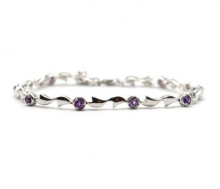 Amethyst Silver Circles And Bow Bracelet