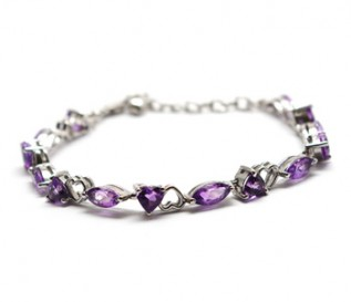 Amethyst Silver Hearts And Kisses Bracelet