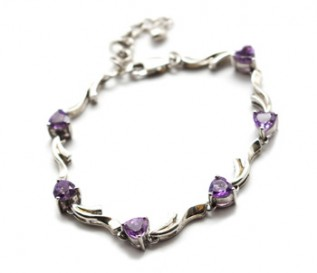 Amethyst Silver Heart Bracelet