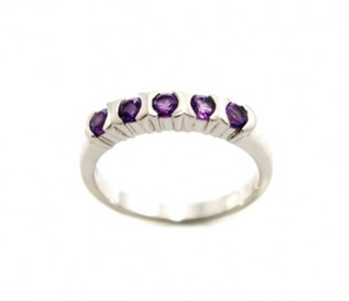 Amethyst Silver Half Eternity Band