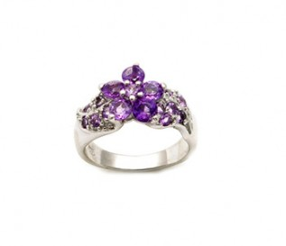 Amethyst Silver Cluster Ring