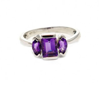 Amethyst Silver Three Stone Ring
