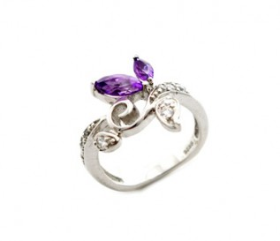 Amethyst 925 Silver Flower Ring