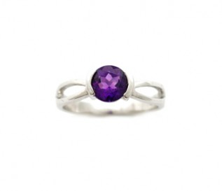 Amethyst Silver Solitaire Ring in Semi-Rubover Setting