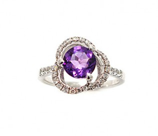 Amethyst CZ Silver Flower Ring