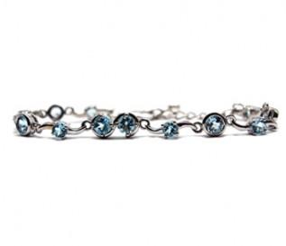 Blue Topaz Silver Bubbles Bracelet