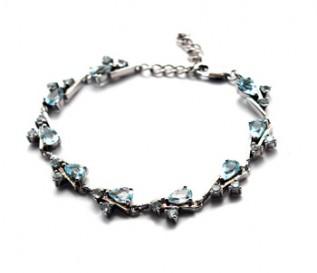 Blue Topaz Silver Cascading Design Bracelet