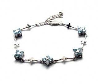 Blue Topaz Silver Flower Chain Bracelet
