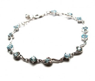 Blue Topaz Silver Circles And Hearts Bracelet