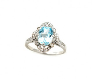 Blue Topaz Silver Vintage Design Ring