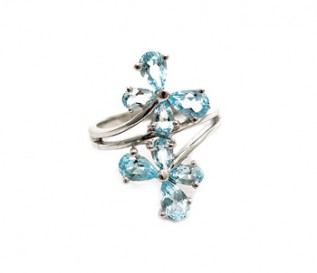 Blue Topaz Silver Butterfly Ring