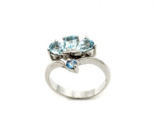 Blue Topaz Silver Fan Ring