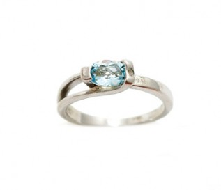 Contemporary Blue Topaz Silver Ring