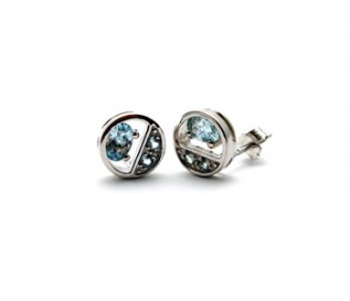 Blue Topaz Silver Circles Stud Earrings