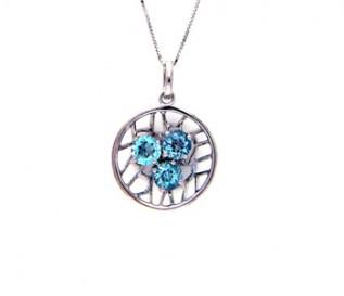 Blue Topaz Silver Nest Pendant