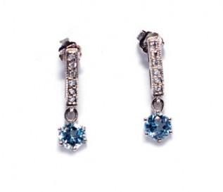 Blue Topaz Cz Silver Dangling Earrings