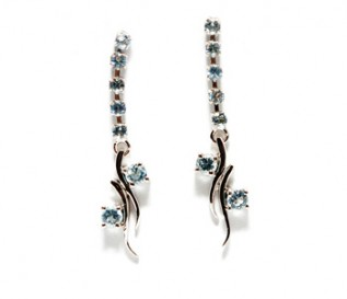Blue Topaz Silver Long Dangling Earrings