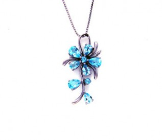 Blue Topaz Silver Flower Pendant