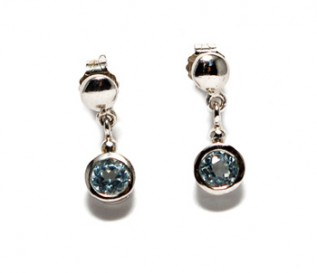 Blue Topaz Silver Drop Earrings