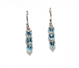 Blue Topaz Silver Dangling Three Hearts Earrings