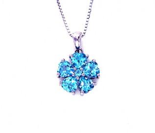 Blue Topaz Silver Heart Flower Pendant
