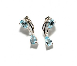 Blue Topaz Pear Drop Silver Earrings