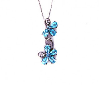 Blue Topaz Silver Two Flower Pendant