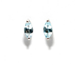 Blue Topaz Silver Marquise Stud Earrings